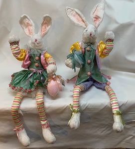 Fancy Bunnies w/Eggs S/2