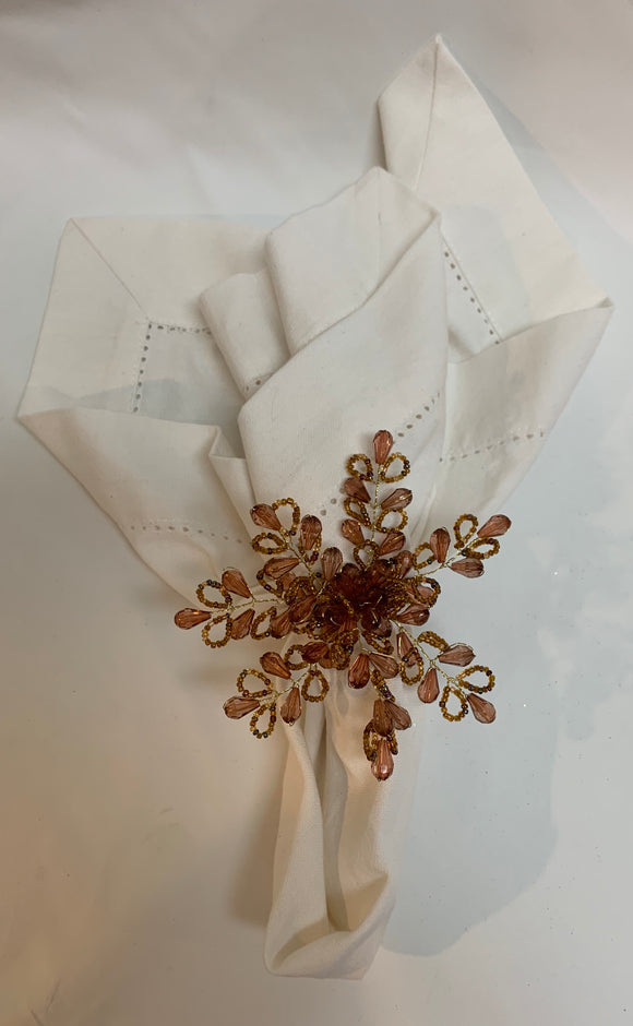 Gold and Pink Flower Napkin Ring