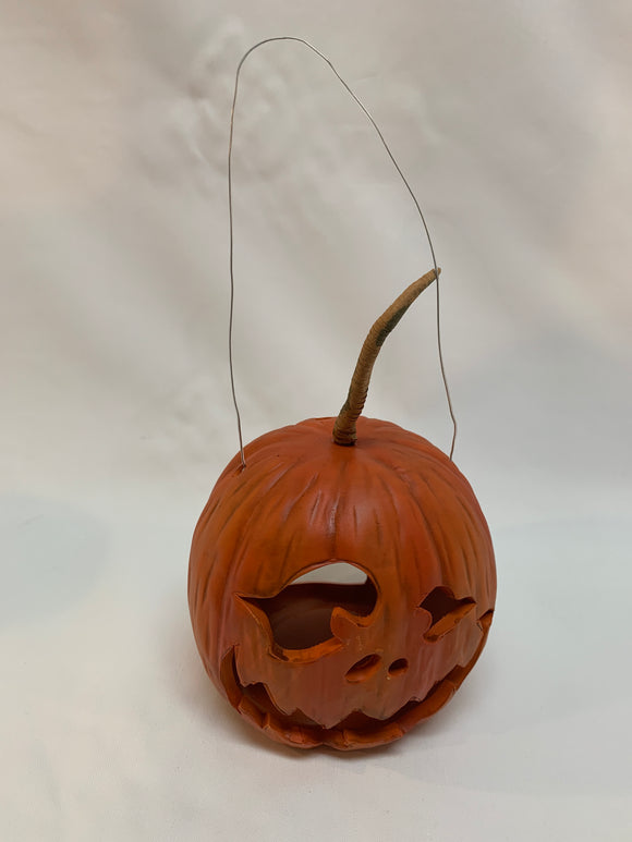 Hanging Clay Pumpkin Lantern
