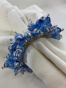 Blue & Silver Beaded Napkin Ring