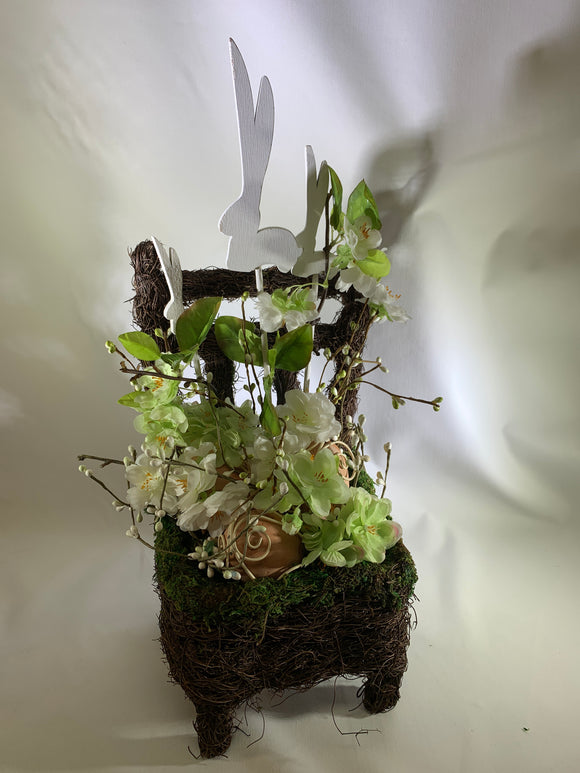 Bunny In Chair Basket - Floral Arrangement