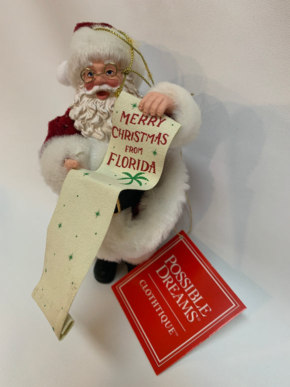 Merry Christmas from Florida - Possible Dreams Santa Ornament D56