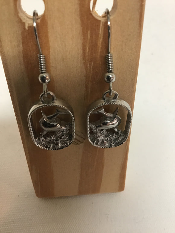 Dolphin in Surf Earrings