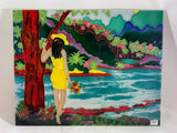 "12""x16"" Tile Art - Island Girl Scene"