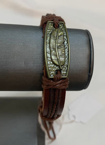 Brown Leather Bracelet w/Banana Leaf Medallion