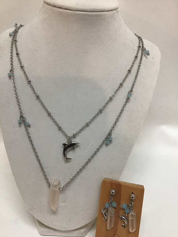 Dolphin w/Crystals Necklace & Earrings Set