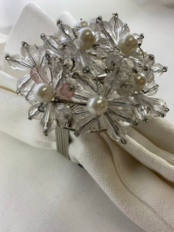 Pearl w/Clear Bead Flower Napkin Ring