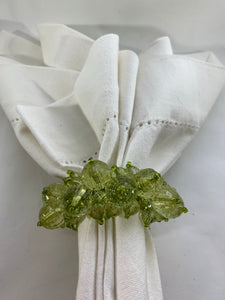 Green & Clear Beaded Napkin Ring