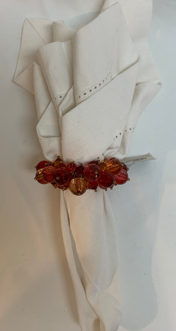 Red and Pink Beaded Napkin Ring