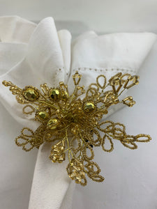 Gold Beaded Flower Napkin Ring