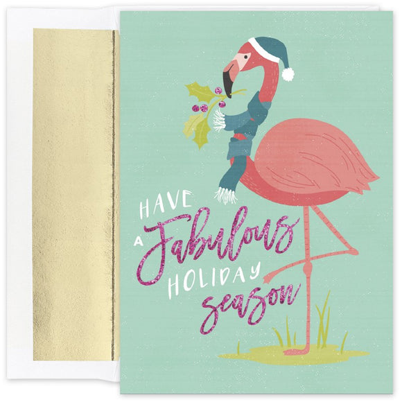 Fabulous Flamingos Warmest Wishes Boxed Holiday Cards