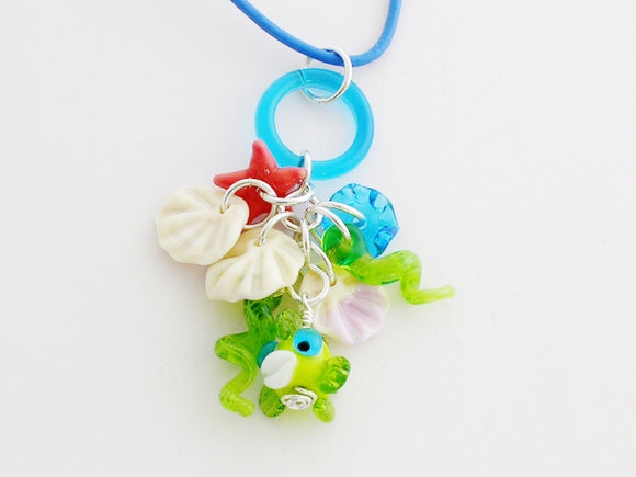 Sea Charm Pendants on Leather Cord