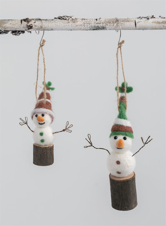 Snowmen On Twine Ornament - 2 Assorted