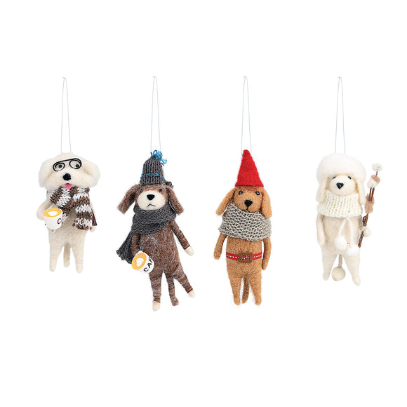 Cozy Time Cozy Felted Wool Dog Ornaments - 4 Asst.