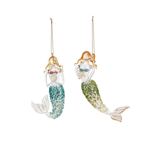 Glass Mermaid Ornaments - 2 Assorted