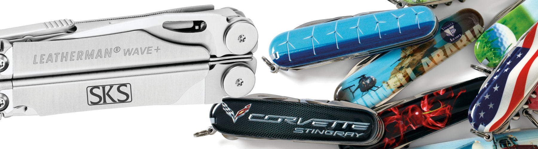 Custom Corporate Logo Imprints on Victorinox Swiss Army Knives, Leatherman Tools, KeySmart Key Carriers and More at Swiss Knife Shop