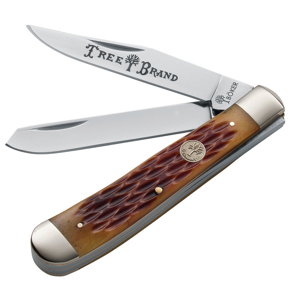 Boker Jigged Brown Bone TS Trapper Folding Knife at Swiss Knife Shop