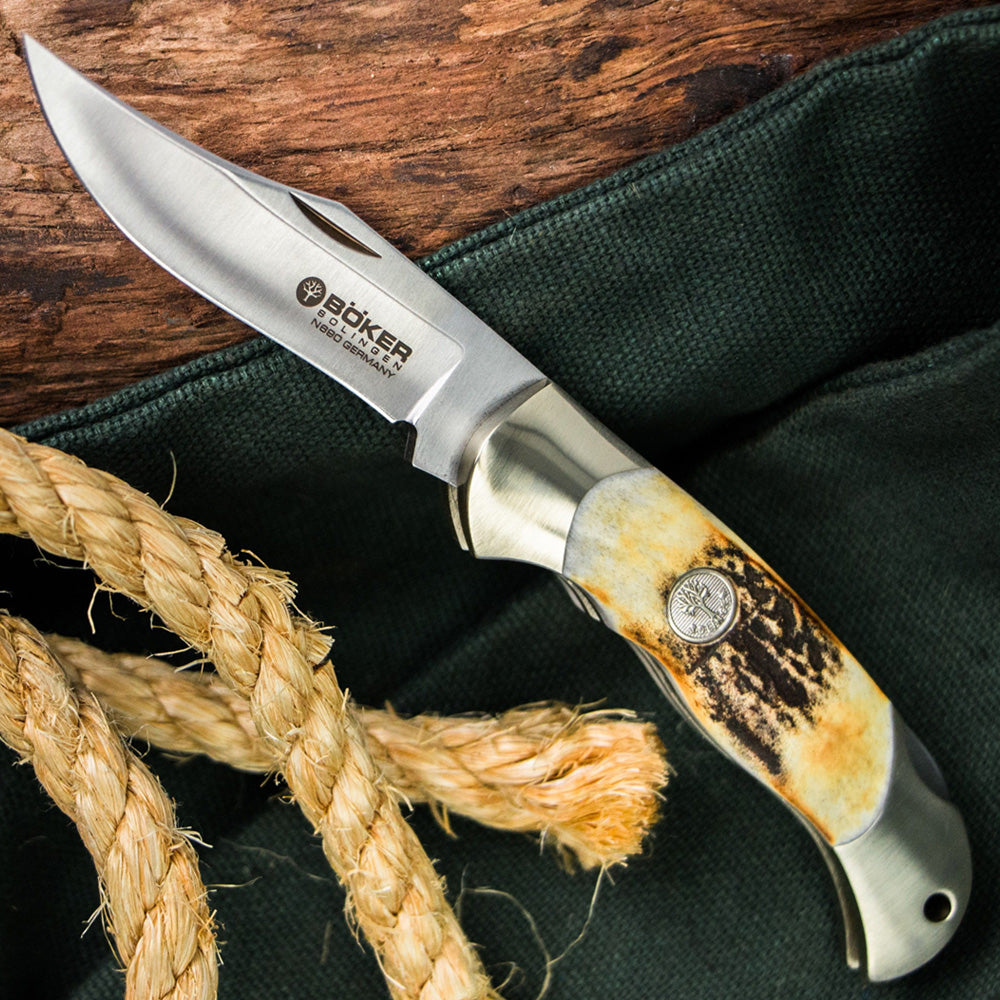 Boker Junior Scout Stag Folding Knife Open with Rope