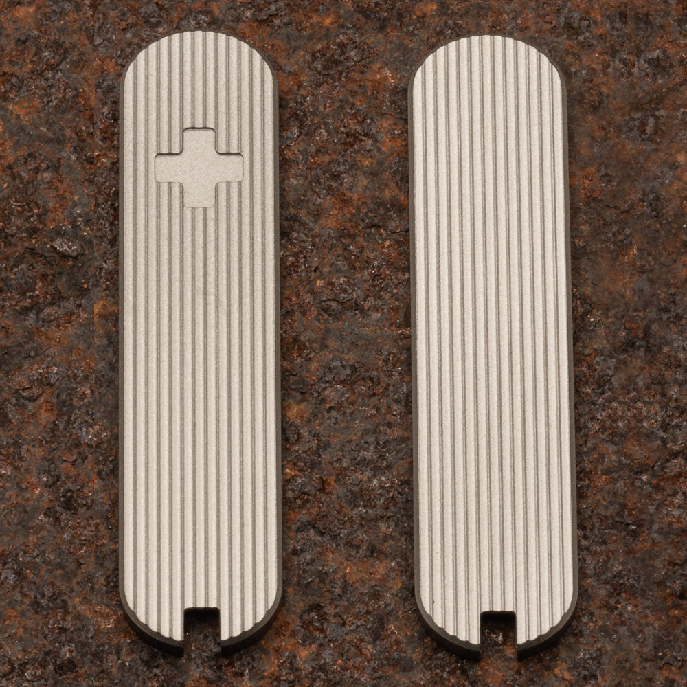 Daily Customs Pinstripes Titanium Plus Handles for 58.2 mm Swiss Army Knives at Swiss Knife Shop