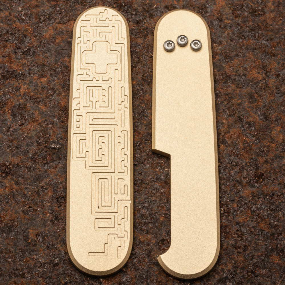 Daily Customs Labyrinth Bronze Handles for 91.2 mm Swiss Army Knives at Swiss Knife Shop