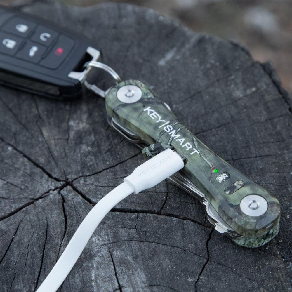 KeySmart Pro Mossy Oak Camo Compact Key Holder Charges with a Mini USB Cable