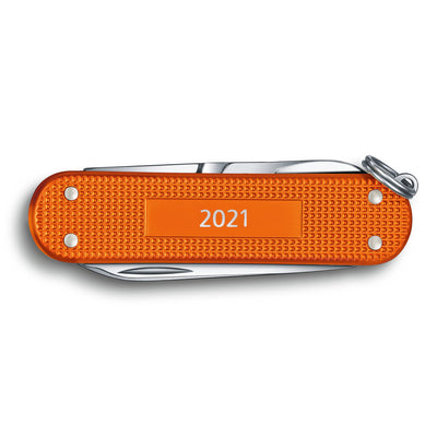 Tiger Orange Alox 2021 Limited Edition Classic SD Swiss Army Knife with 2021 Engraved on the Back Panel