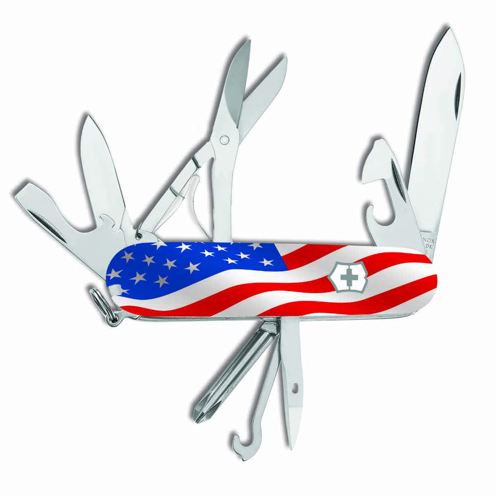 US Flag Super Tinker Exclusive Swiss Army Knife Shield Side
