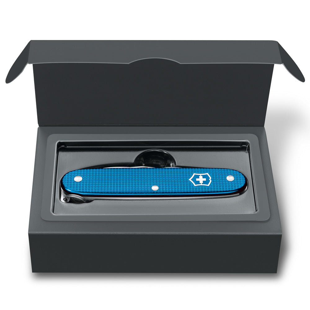 Aqua Blue Alox Pioneer 2020 Limited Edition Swiss Army Knife in Presentation Box Open