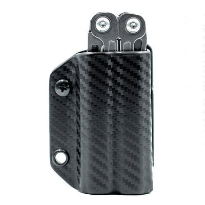 Carbon Fiber Black Clip and Carry Kydex Belt Sheath for Leatherman Wingman, Sidekick, Rebar and Rev Models