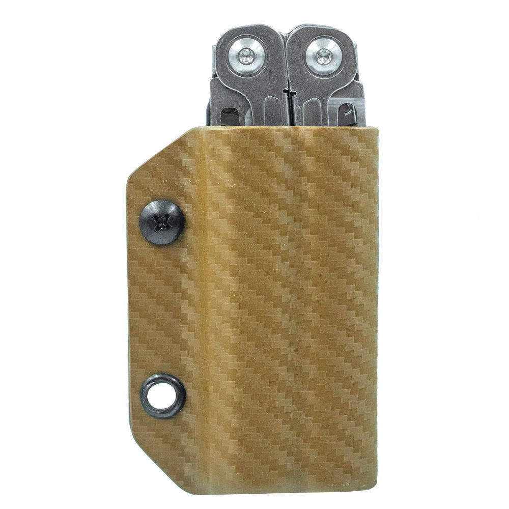 Carbon Tan Clip and Carry Kydex Belt Sheath for Leatherman Wingman, Sidekick, Rebar and Rev Models