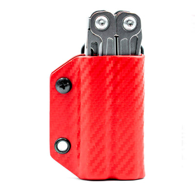 Carbon Red Clip and Carry Kydex Belt Sheath for Leatherman Wingman, Sidekick, Rebar and Rev Models