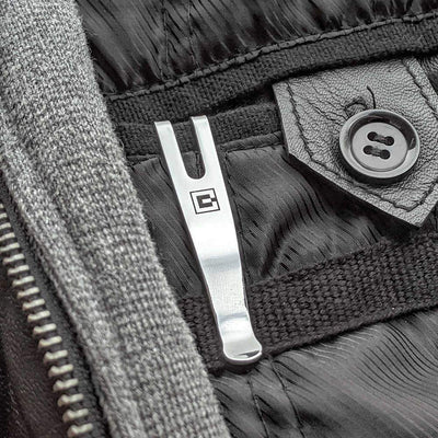 SwissQlip Swiss Army Knife Pocket Clip in a Jacket Pocket