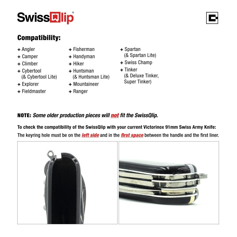 SwissQlip Swiss Army Knife Pocket Clip Compatibility Information