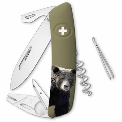 Swiza Wildlife TT03 Swiss Tick Tool Pocket Knife, Brown Bear