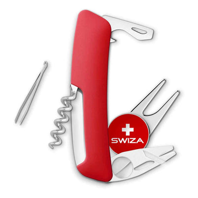 Swiza GO03 Swiss Golf Tool Back View with Integrated Ball Marker at Swiss Knife Shop