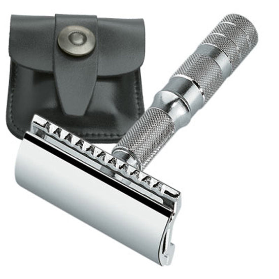 Merkur Travel Size Double Edge Safety Razor, Straight Cut, Chrome Handle