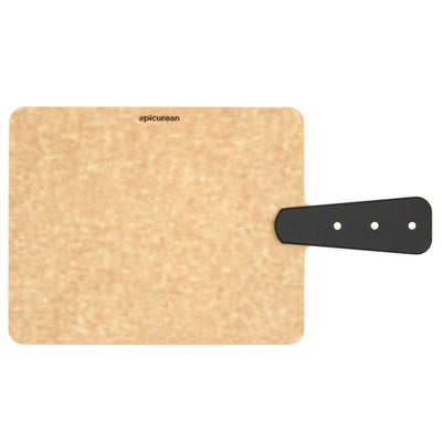 "Epicurean Handy Series 9"" x 7"" Riveted Handle Cutting Board - Natural with Slate Handle"