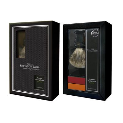 Edwin Jagger Ebony Best Badger Wet Shaving Brush and Aloe Vera Shaving Cream Gift Set