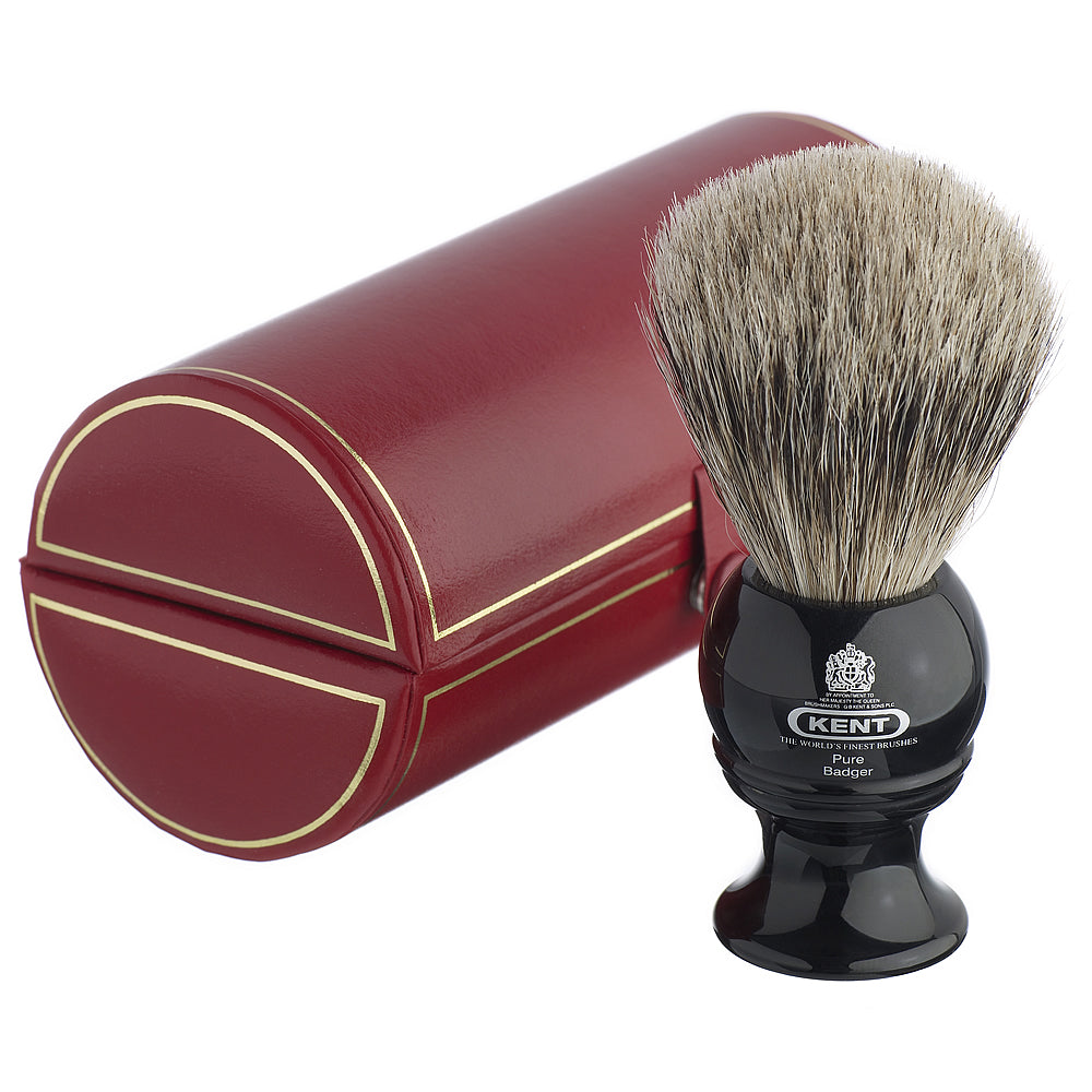 Kent Medium Black Pure Grey Badger Traditional Shaving Brush
