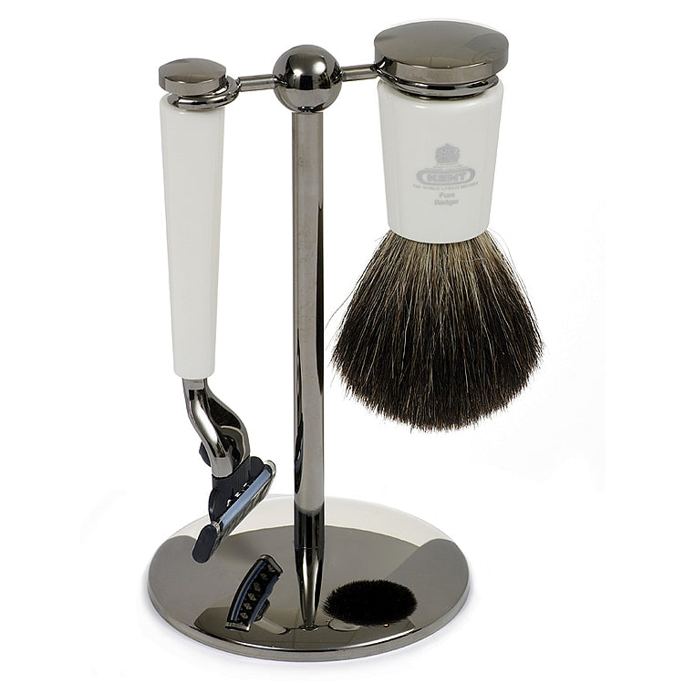 Kent Pure Badger White Shaving Brush and Razor Set with Stand