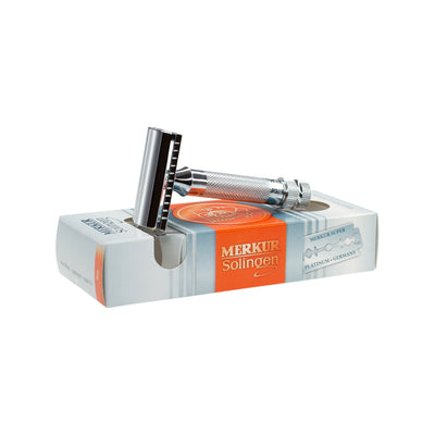 Merkur 34C Double Edge Safety Razor, Straight Cut, Extra Thick Chrome Handle