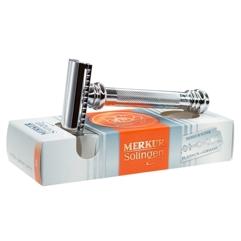 Merkur 39C Double Edge Safety Razor, Slanted Cut, Extra Long Chrome Handle