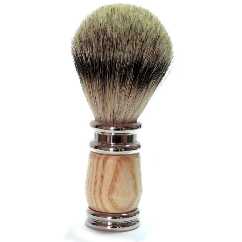 Golddachs Finest Badger Shaving Brush - Rubber Wood and Silver Handle