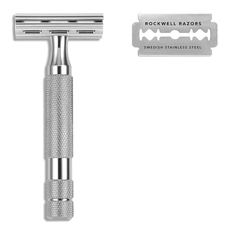 Rockwell 2C Adjustable Safety Razor, White Chrome