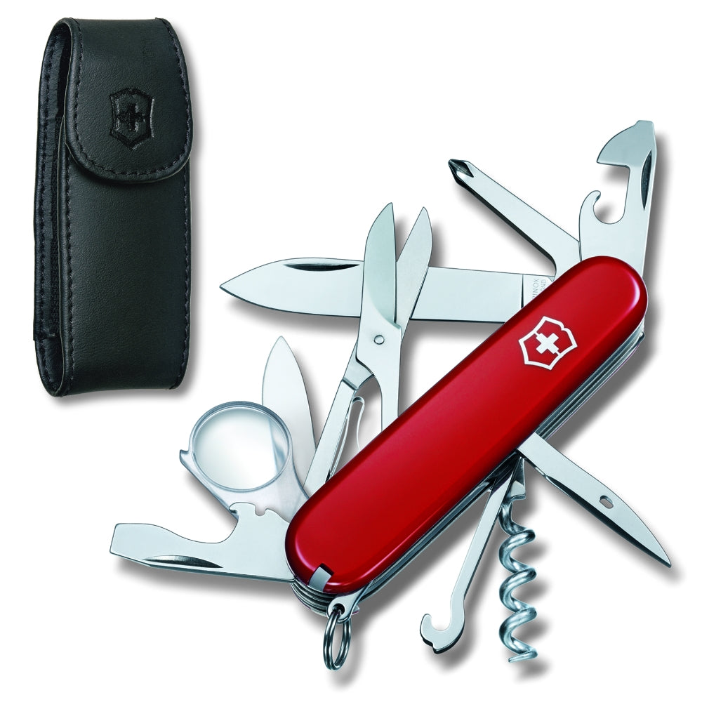 Explorer Swiss Army Knife and Leather Clip Pouch Set by Victorinox