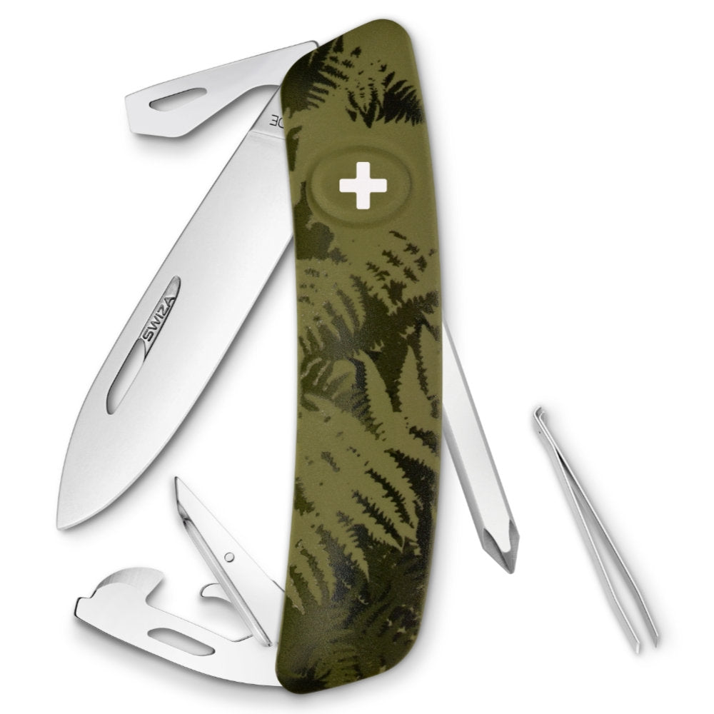 Swiza D04 Swiss Pocket Knife, Olive Fern Camouflage