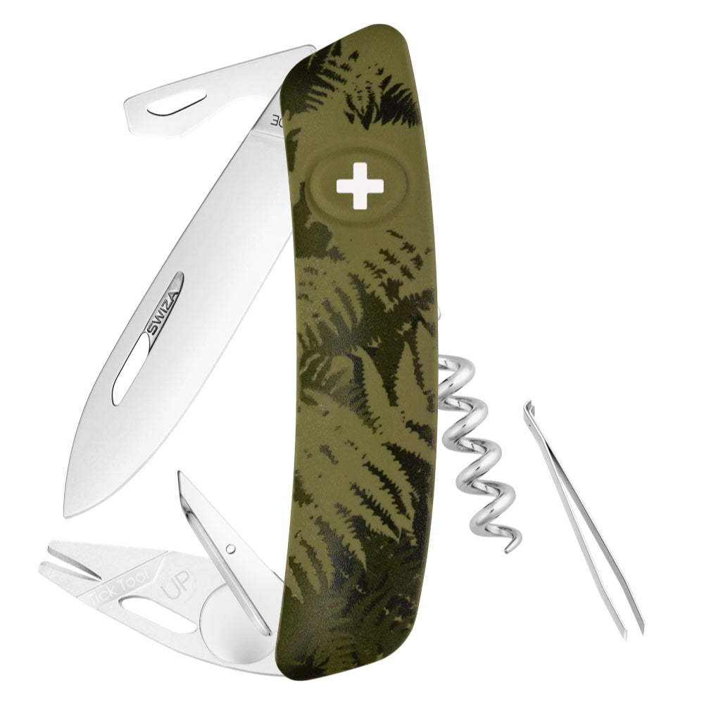 Swiza TT03 Swiss Tick Tool Pocket Knife, Olive Fern Camouflage