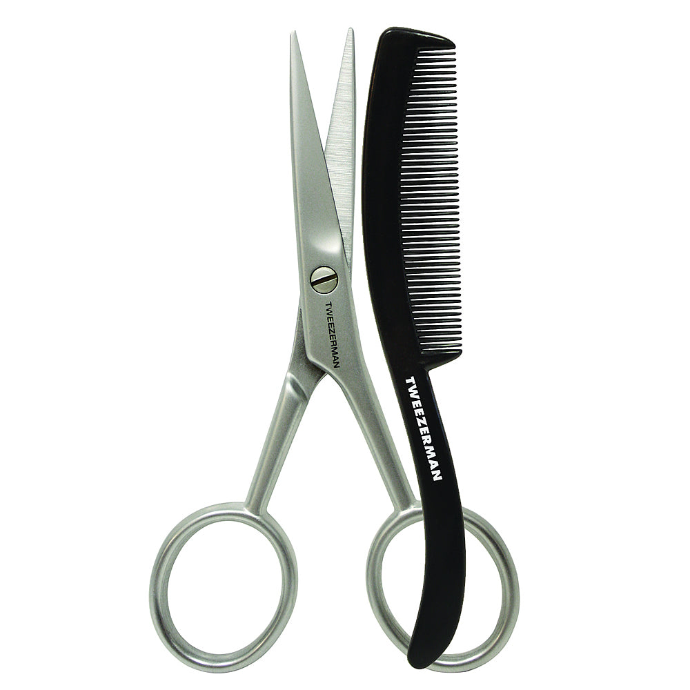 Tweezerman GEAR Moustache Scissors and Grooming Comb
