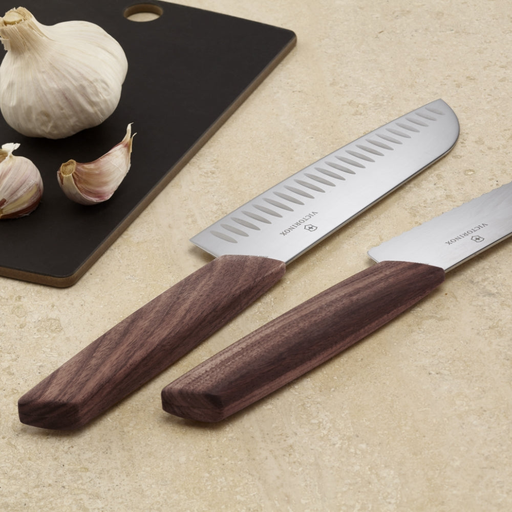 "Swiss Modern 7.5"" Granton Edge Santoku Knife by Victorinox"