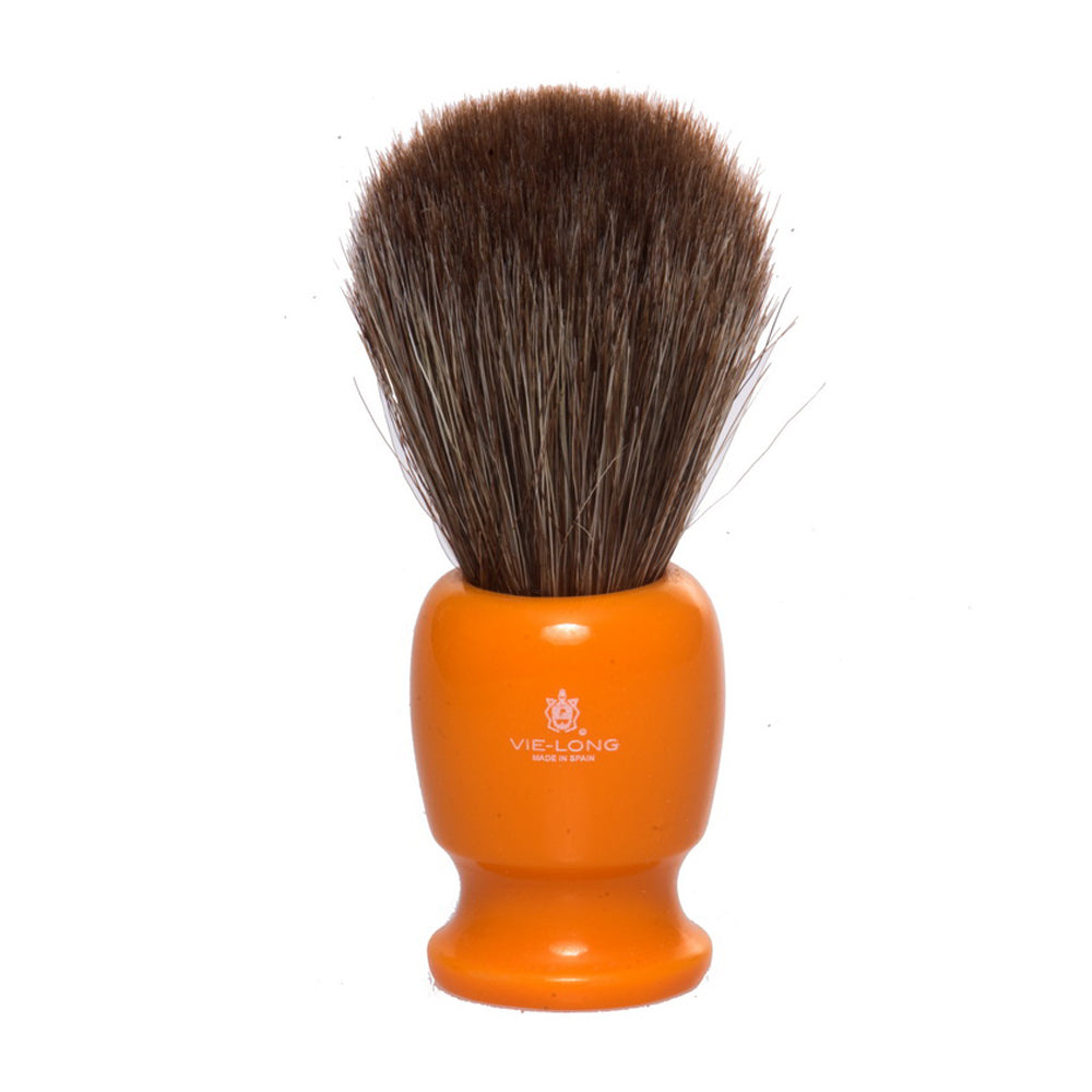 Vie-Long Brown Horse Hair Shaving Brush - Acrylic Butterscotch Handle